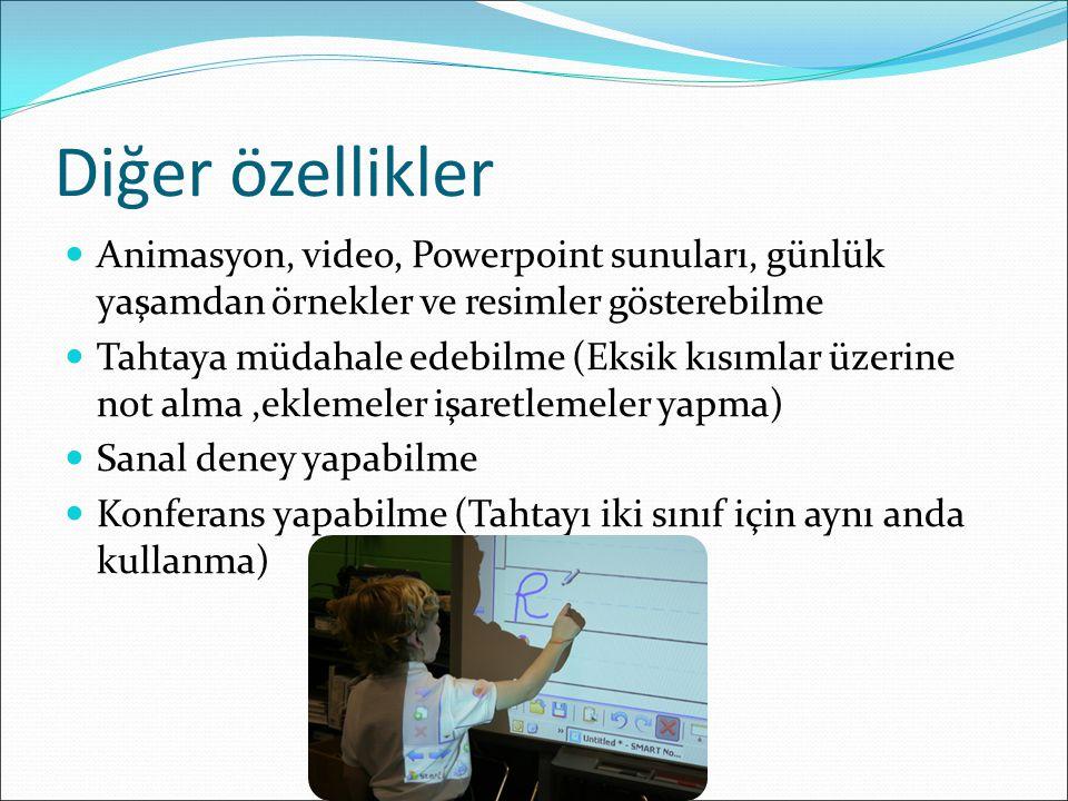Diğer özellikler Animasyon, video, Powerpoint sunuları, günlük yaşamdan örnekler ve resimler gösterebilme.