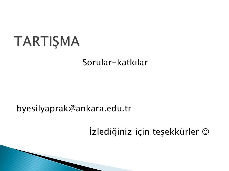 TARTIŞMA Sorular-katkılar byesilyaprak@ankara.edu.tr İzlediğiniz için teşekkürler 