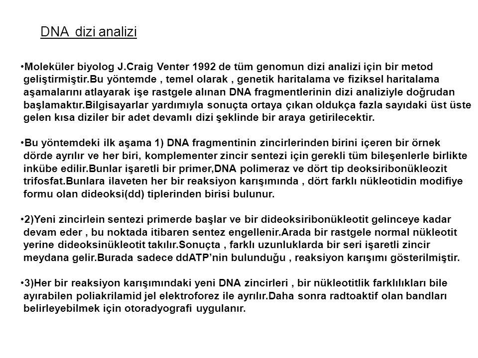 DNA dizi analizi Moleküler biyolog J.Craig Venter 1992 de tüm genomun dizi analizi için bir metod.