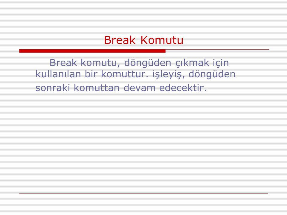 Break Komutu Break komutu, döngüden çıkmak için kullanılan bir komuttur.