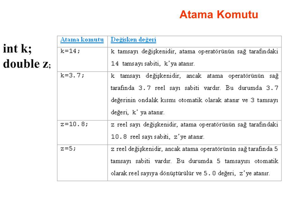Atama Komutu int k; double z;
