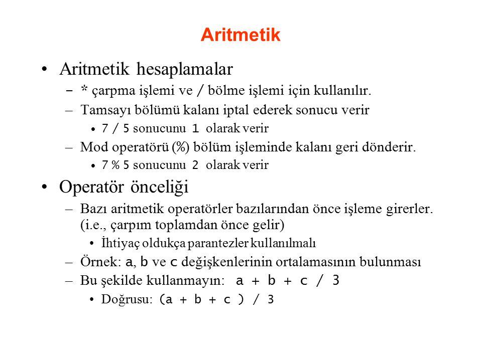 Aritmetik hesaplamalar