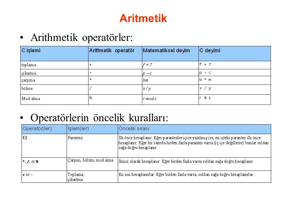 Aritmetik Arithmetik operatörler: Operatörlerin öncelik kuralları: