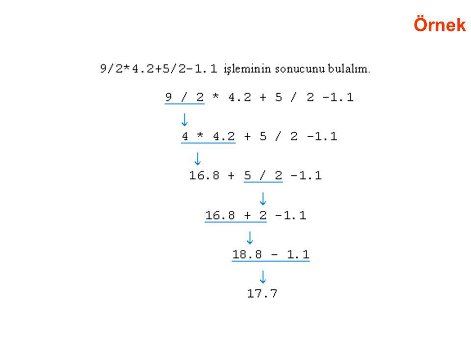Örnek Aritmetik Operatörlerin Öncelik Sırası