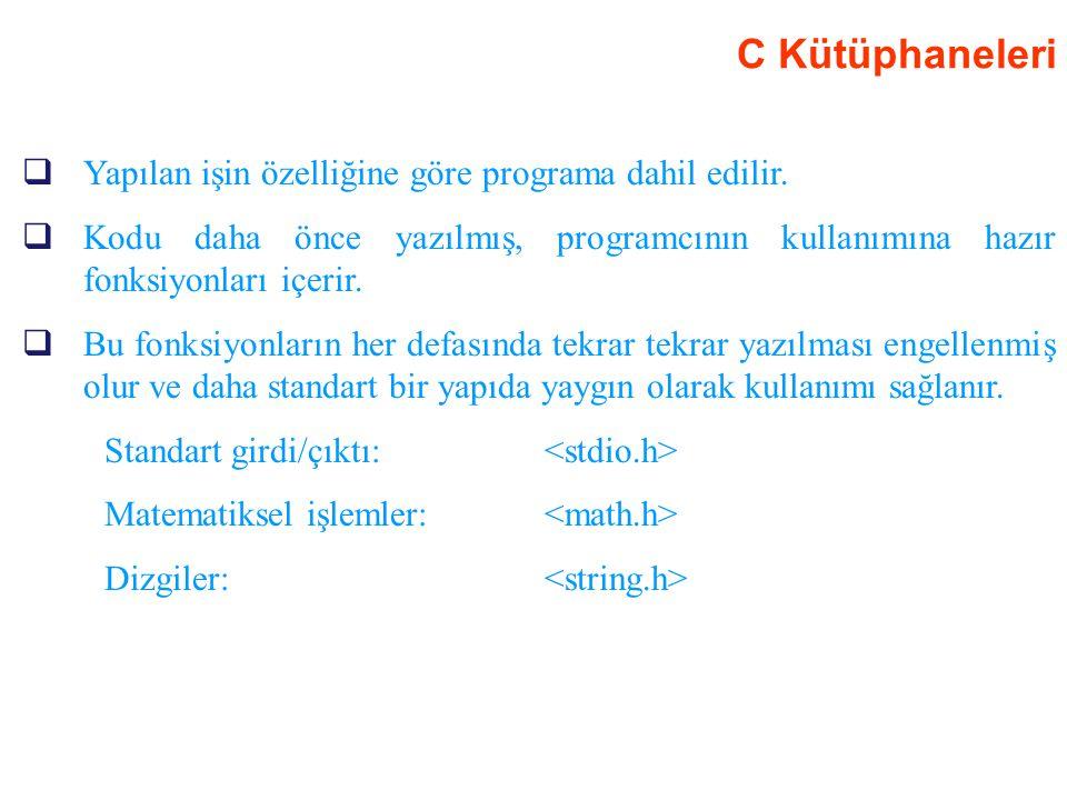 C Kütüphaneleri Yapılan işin özelliğine göre programa dahil edilir.