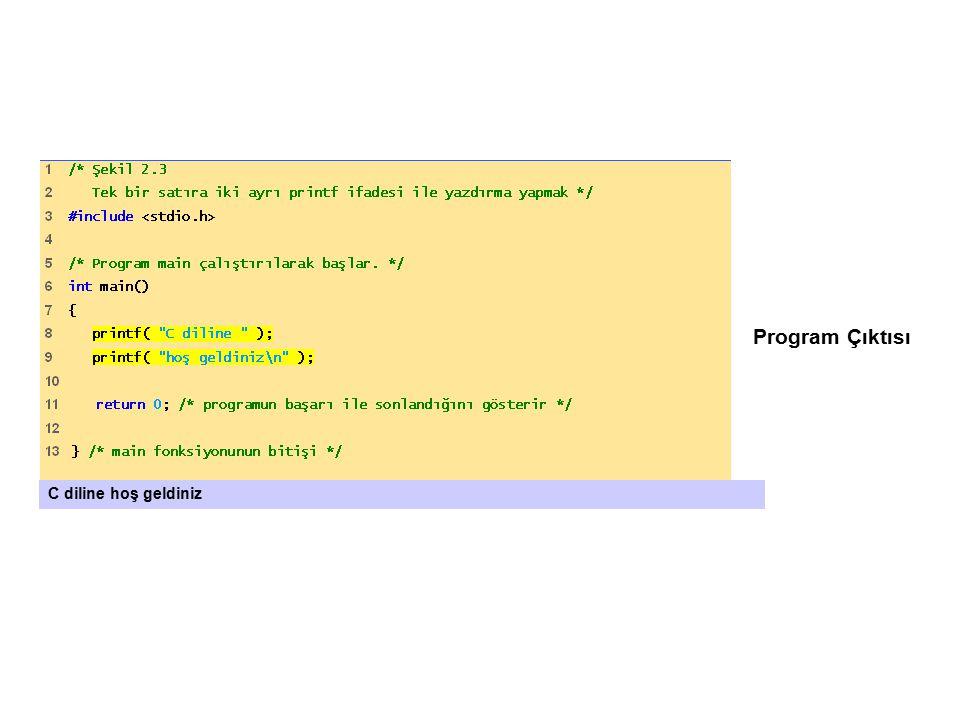 Program Çıktısı C diline hoş geldiniz