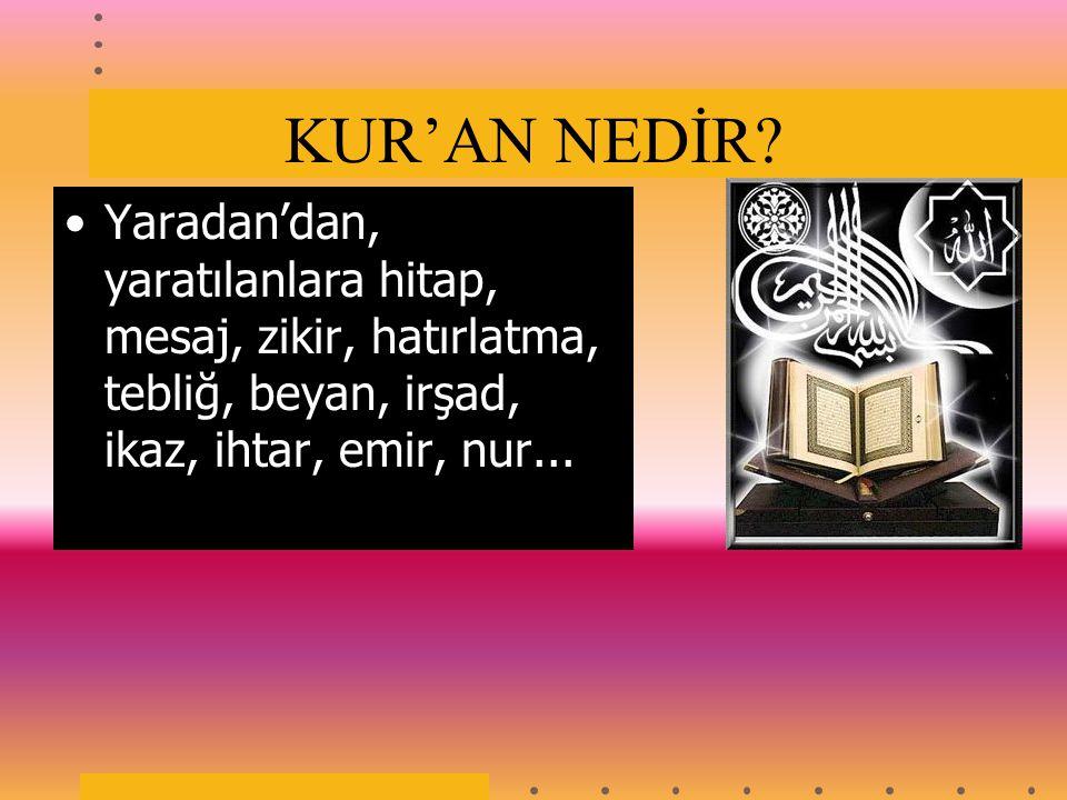 KUR'AN NEDİR.