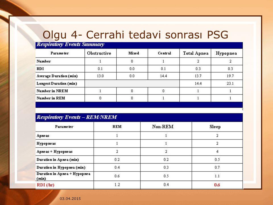 Olgu 4- Cerrahi tedavi sonrası PSG