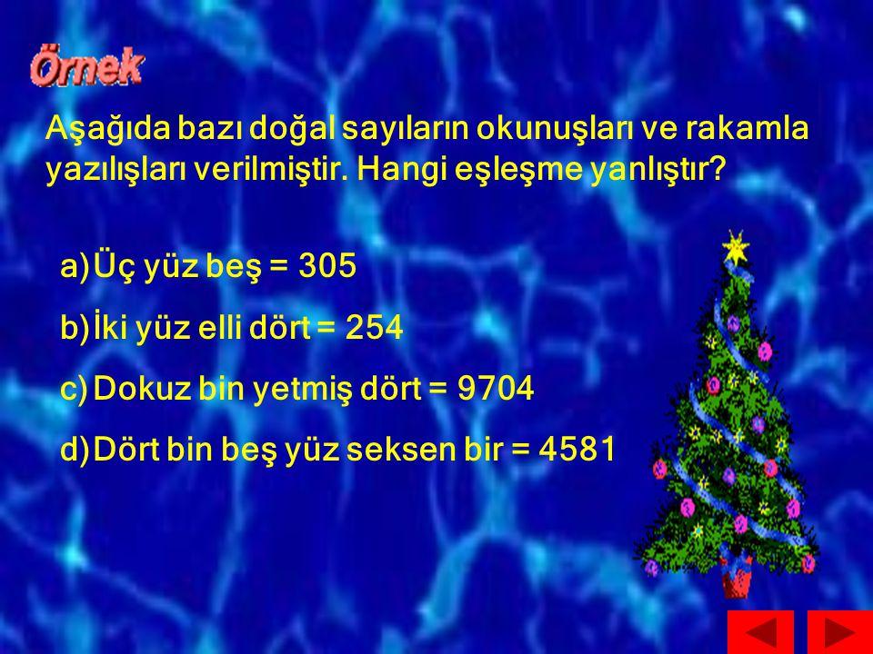 Aşağıda bazı doğal sayıların okunuşları ve rakamla yazılışları verilmiştir. Hangi eşleşme yanlıştır