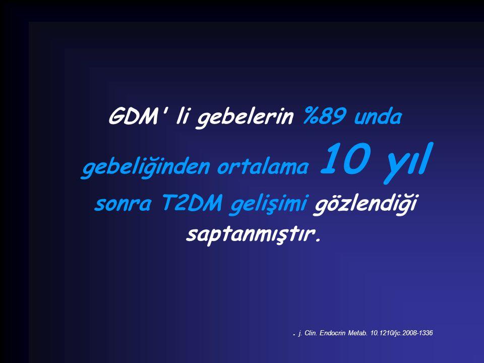 GDM li gebelerin %89 unda gebeliğinden ortalama 10 yıl sonra T2DM gelişimi gözlendiği saptanmıştır.