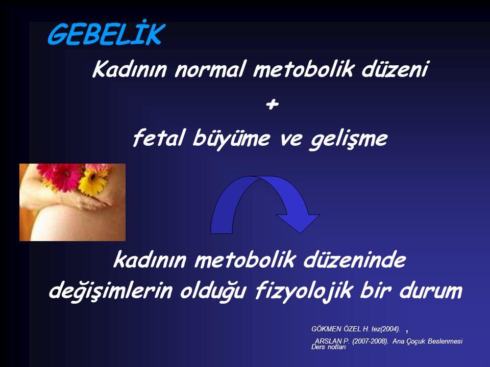 GEBELİK Kadının normal metobolik düzeni + fetal büyüme ve gelişme