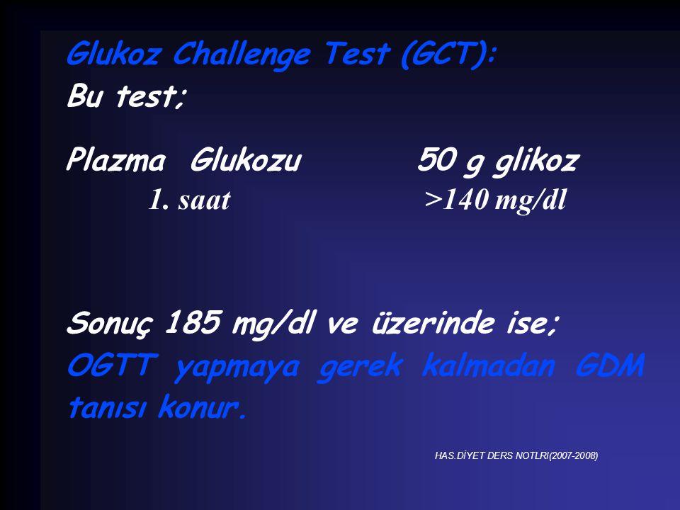 Glukoz Challenge Test (GCT): Bu test; Plazma Glukozu 50 g glikoz
