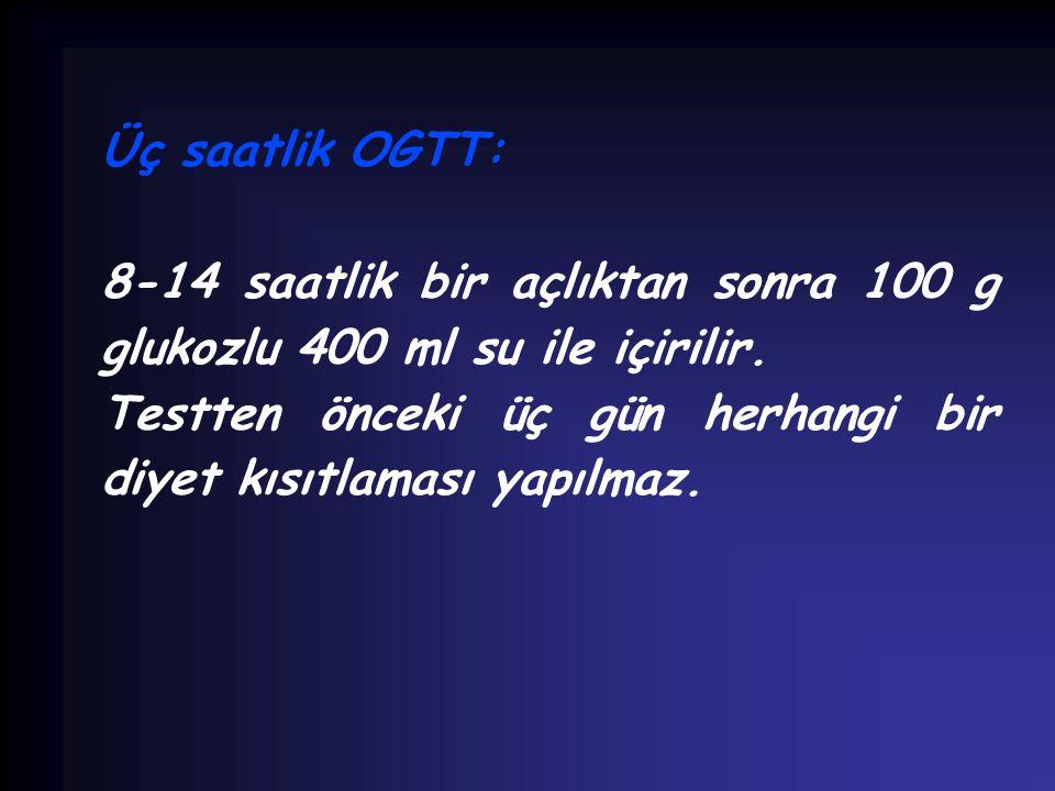 Üç saatlik OGTT: 8-14 saatlik bir açlıktan sonra 100 g glukozlu 400 ml su ile içirilir.