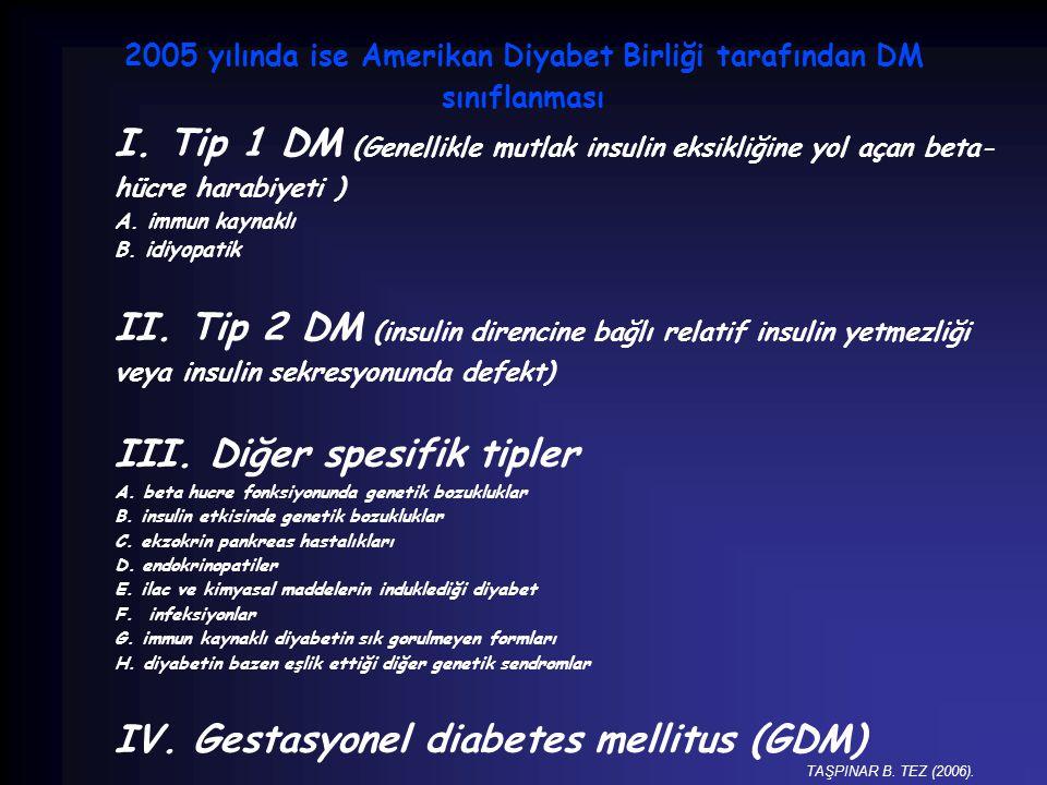 2005 yılında ise Amerikan Diyabet Birliği tarafından DM sınıflanması