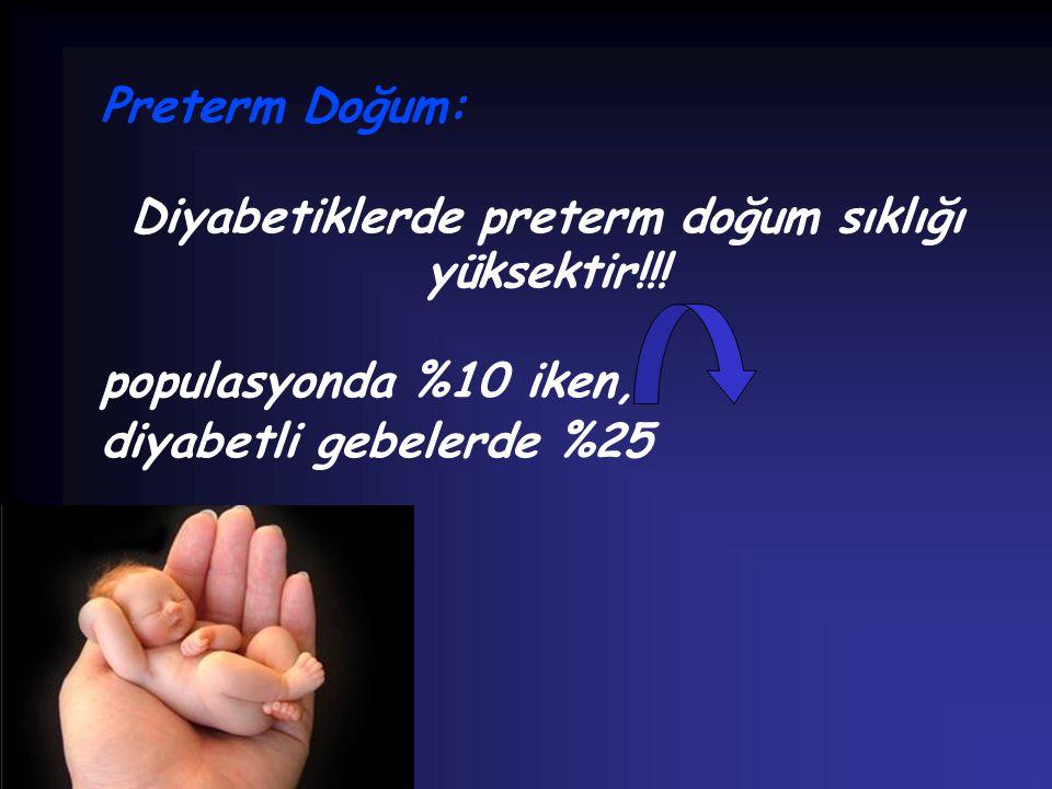 Diyabetiklerde preterm doğum sıklığı yüksektir!!!