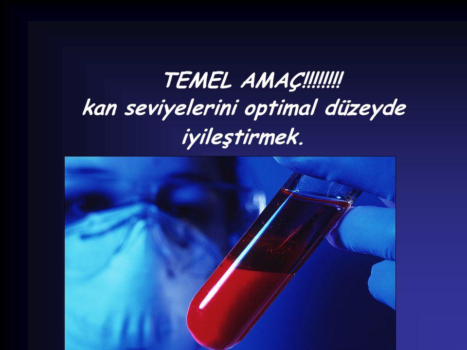TEMEL AMAÇ!!!!!!!! kan seviyelerini optimal düzeyde iyileştirmek.