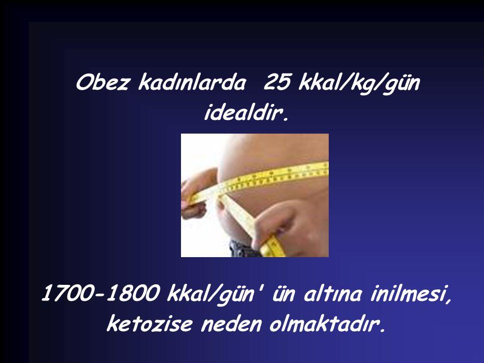 Obez kadınlarda 25 kkal/kg/gün idealdir.