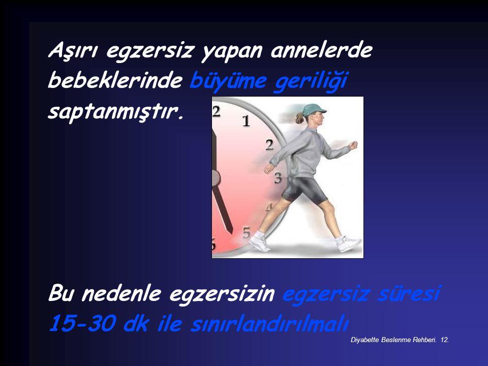Bu nedenle egzersizin egzersiz süresi 15-30 dk ile sınırlandırılmalı