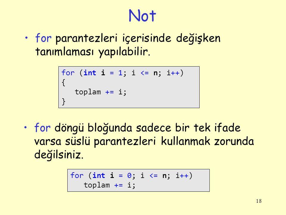 Not for parantezleri içerisinde değişken tanımlaması yapılabilir.