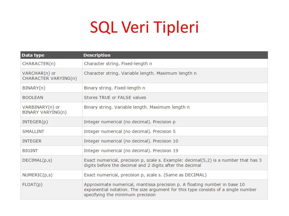 SQL Veri Tipleri