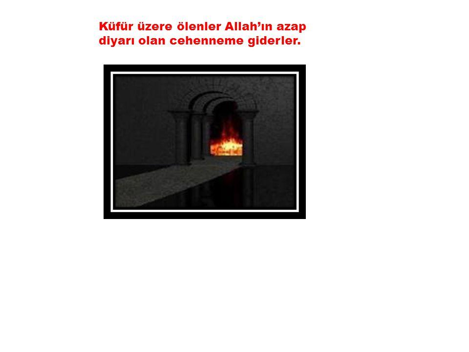 Küfür üzere ölenler Allah'ın azap diyarı olan cehenneme giderler.