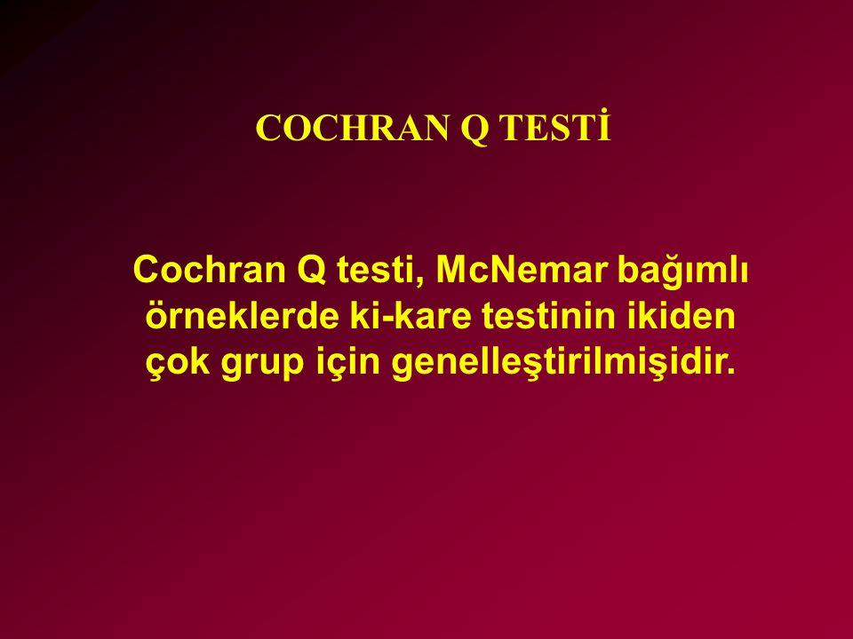 COCHRAN Q TESTİ Cochran Q testi, McNemar bağımlı örneklerde ki-kare testinin ikiden çok grup için genelleştirilmişidir.