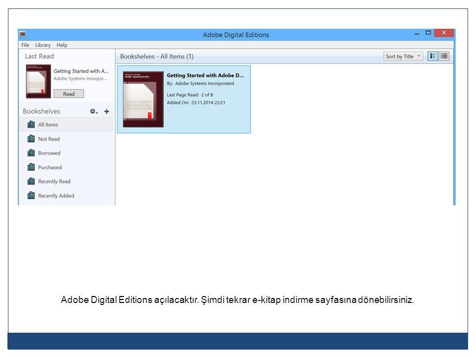 Adobe Digital Editions açılacaktır