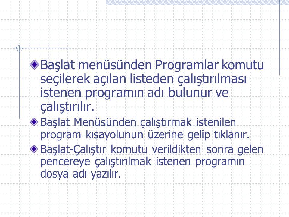 Başlat menüsünden Programlar komutu seçilerek açılan listeden çalıştırılması istenen programın adı bulunur ve çalıştırılır.