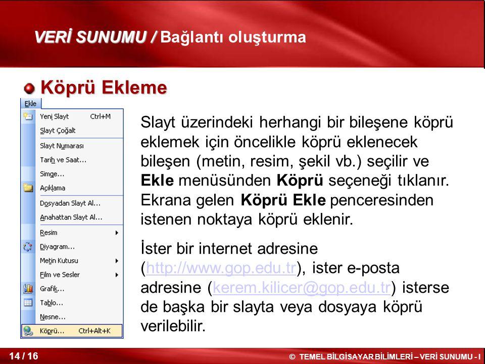 Köprü Ekleme VERİ SUNUMU / Bağlantı oluşturma