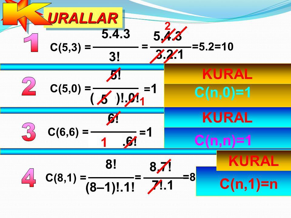 K URALLAR 1 KURAL 2 C(n,0)=1 KURAL 3 C(n,n)=1 KURAL 4 C(n,1)=n 5.4.3