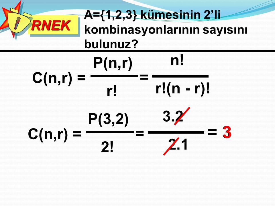 = 3 3 n! P(n,r) C(n,r) = = r!(n - r)! r! 3.2 P(3,2) C(n,r) = = 2.1 2!