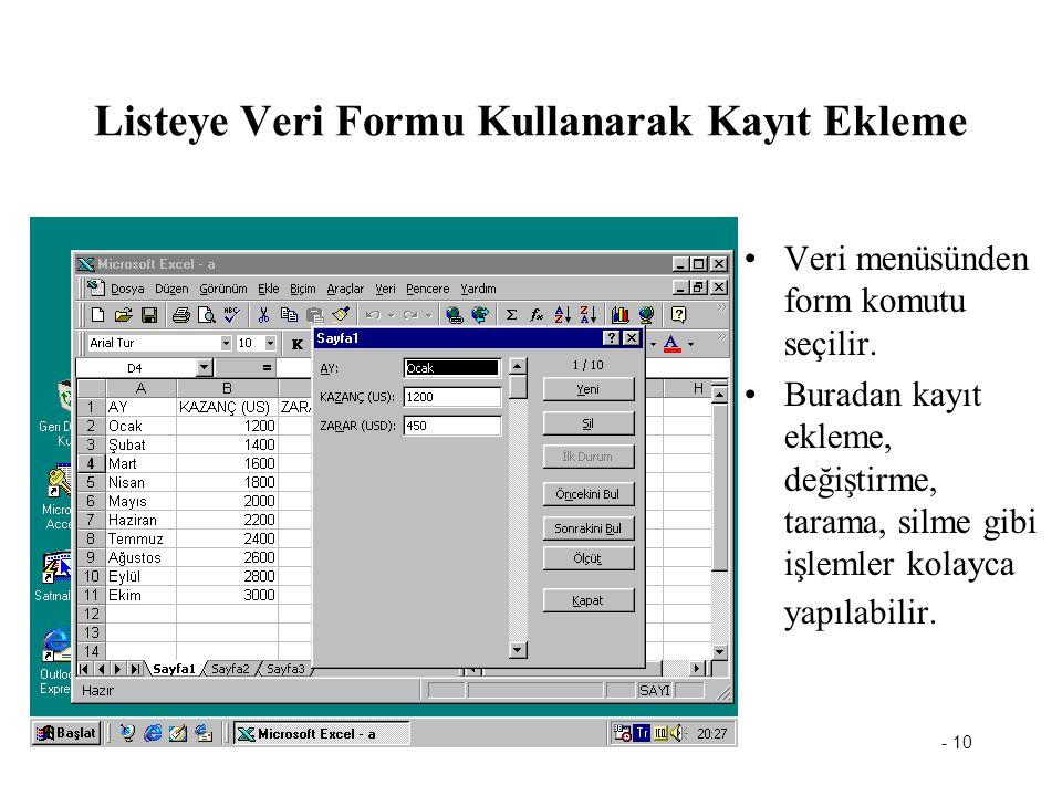 Listeye Veri Formu Kullanarak Kayıt Ekleme