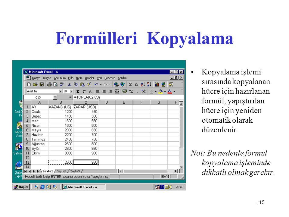 Formülleri Kopyalama Kopyalama işlemi sırasında kopyalanan hücre için hazırlanan formül, yapıştırılan hücre için yeniden otomatik olarak düzenlenir.