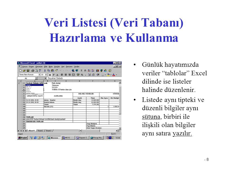 Veri Listesi (Veri Tabanı) Hazırlama ve Kullanma