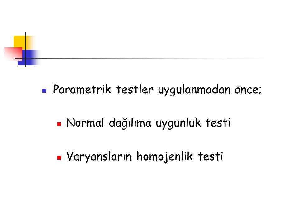 Parametrik testler uygulanmadan önce;