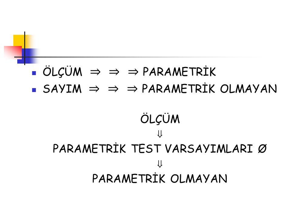 PARAMETRİK TEST VARSAYIMLARI Ø