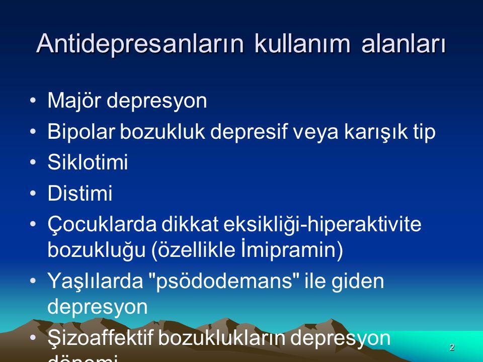Antidepresanların kullanım alanları