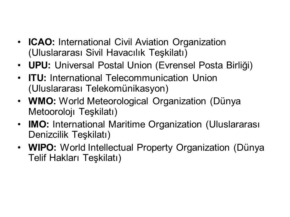 ICAO: International Civil Aviation Organization (Uluslararası Sivil Havacılık Teşkilatı)