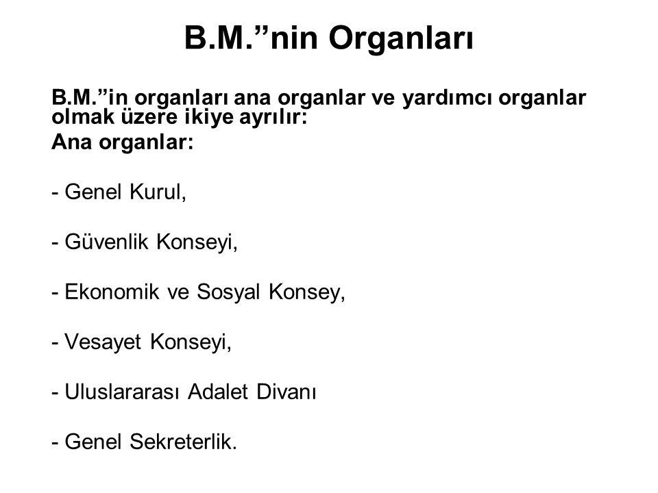 B.M. nin Organları B.M. in organları ana organlar ve yardımcı organlar olmak üzere ikiye ayrılır: Ana organlar: