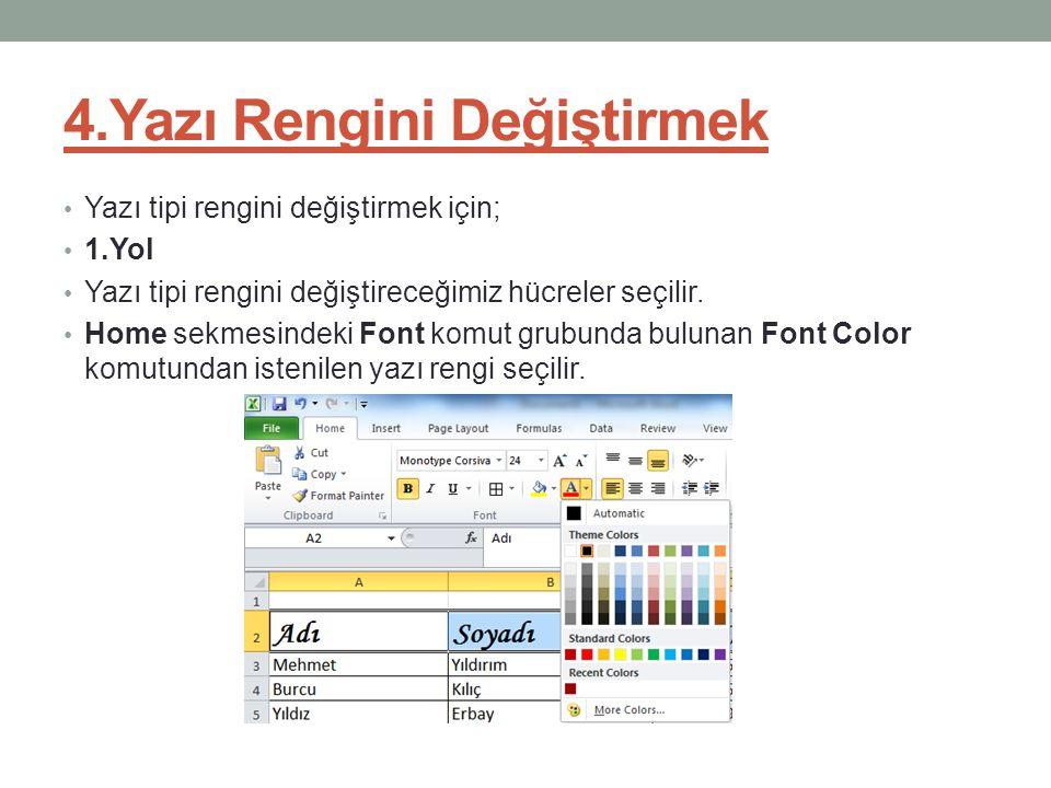 4.Yazı Rengini Değiştirmek
