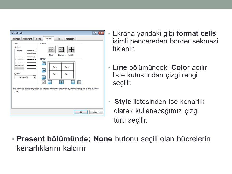 Ekrana yandaki gibi format cells isimli pencereden border sekmesi tıklanır.