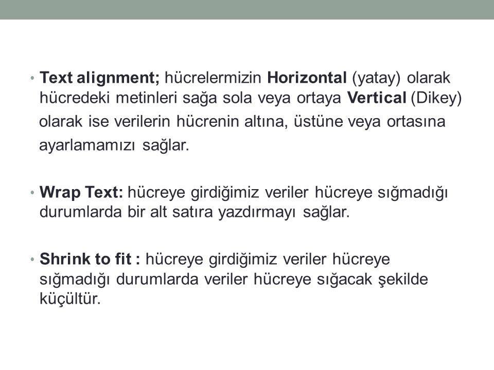 Text alignment; hücrelermizin Horizontal (yatay) olarak hücredeki metinleri sağa sola veya ortaya Vertical (Dikey)