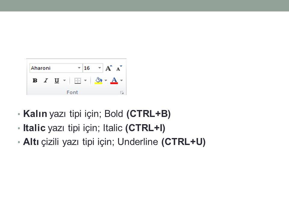 Kalın yazı tipi için; Bold (CTRL+B)