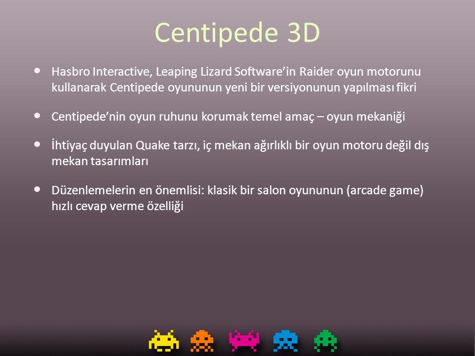 Centipede 3D Hasbro Interactive, Leaping Lizard Software'in Raider oyun motorunu kullanarak Centipede oyununun yeni bir versiyonunun yapılması fikri.