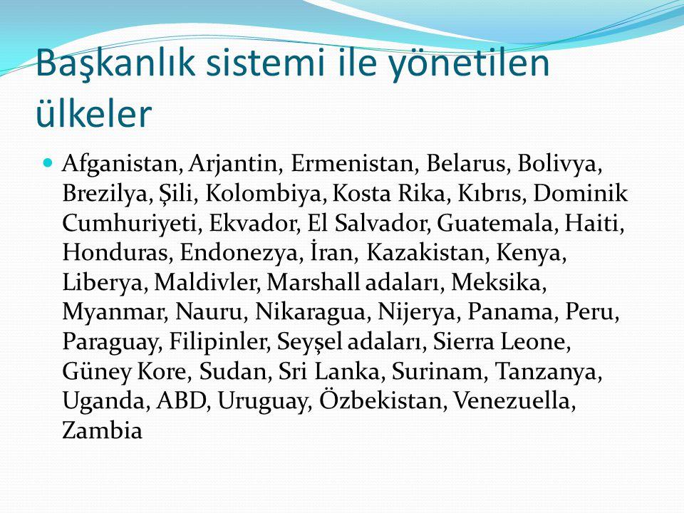 Başkanlık sistemi ile yönetilen ülkeler