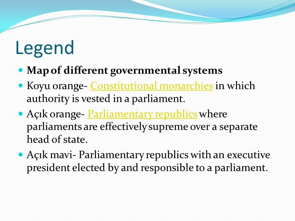 Legend Map of different governmental systems