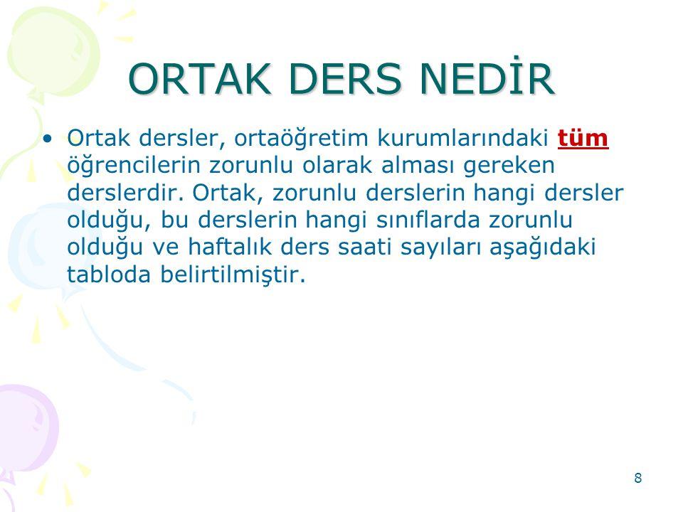 ORTAK DERS NEDİR