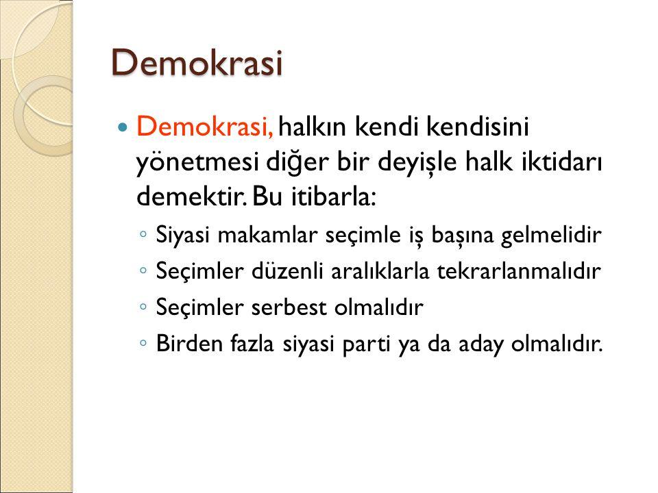 Demokrasi Demokrasi, halkın kendi kendisini yönetmesi diğer bir deyişle halk iktidarı demektir. Bu itibarla: