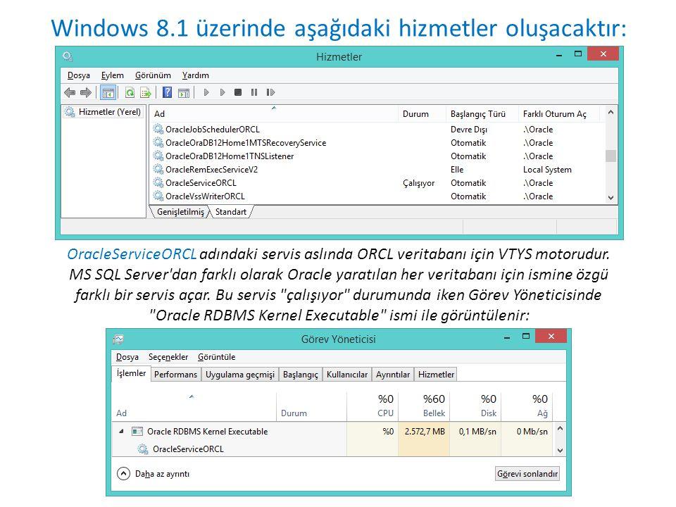 Windows 8.1 üzerinde aşağıdaki hizmetler oluşacaktır: