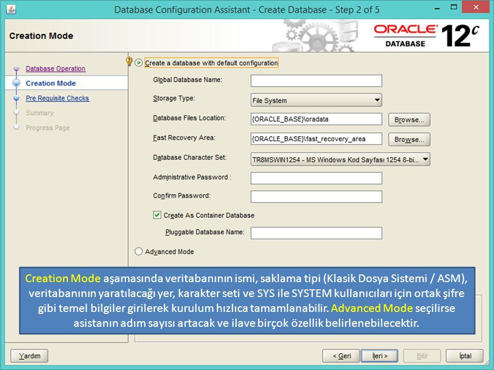 Create As Container Database seçili ise oluşturulacak olan grid veritabanının temel ismi Pluggable Database alanına girilebilir. Diğer cluster veritabanlarının gride bağlanması için bu isim gerekli olacaktır.